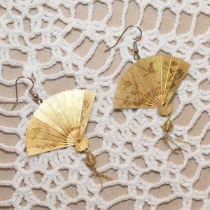 Vintage Chinese Fan Earrings